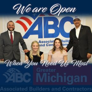 """ABC staff photo """"we are open"""""""